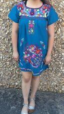 Handmade  Embroidery , Mexican ,  Mini Dress ,Puebla , Aqua tunic & color size M