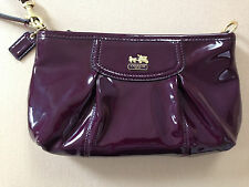 Coach Madison Plum Patent Leather Large Wristlet/Small Handbag Purse