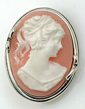 VINTAGE Jezlaine .925 Sterling Silver, Decorative Carved Cameo Brooch / Pin