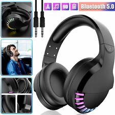 Bluetooth 5.0 Headset Wireless Stereo Bass Headphones Over Ear Noise Cancelling