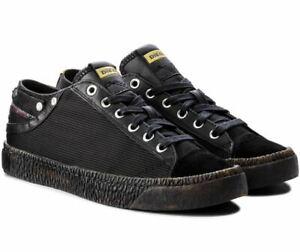 DIESEL Herrenschuhe Sneaker Exposure Low Echtleder Gr 39 42 46 schwarz NEU