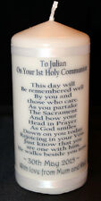 White wax personalised First holy Communion candle gift