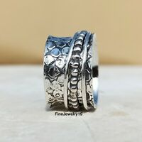 925 Sterling Silver Spinner Ring Wide Band Meditation Statement Jewelry A159