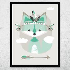 Bild Kunstdruck A4 Tribal Fuchs mint Kinderzimmer Deko Geschenk