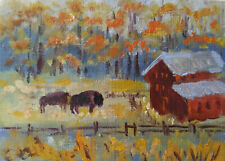 ACEO Autumn landscape Buffalo Original Oil painting Art 2.5x3.5in artist MK