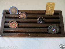 Military Challenge Coin/ Chips Wood Display Holder 5 Tier->Kona-Chocolate Brown