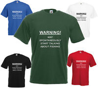 Warning Spontaneously Talk Fishing T-Shirt Funny Birthday Gift Mens Womens Top