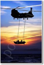Chinook Helicopter in Studland Bay - Dorset, UK - NEW Military Aircraft POSTER