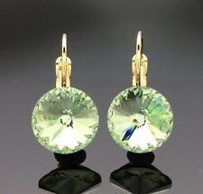 Swarovski LIME GREEN Crystal Drop Earrings Wedding Formal Diamante Gold Quality