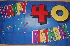Happy Birthday 40. Geburtstag Flagge Fahne Hißflagge Hißfahne 150 x 90 cm