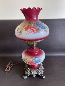 Hurricane GWTW Lamp Red Cranberry Milk Glass Yellow Red & Blue Flowers