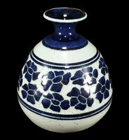 JAMES MORRIS COTTER CALIFORNIA STUDIO ART POTTERY WEED VASE COBALT BLUE FLOWERS