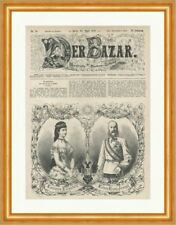 Impératrice Elisabeth et l'empereur François-Joseph Autriche k&k Gravure sur bois E 23518
