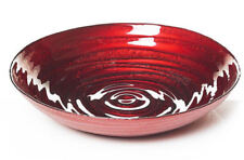 Swirl Red Glass Bowl Display Fruit Decor Bowl Plate Gift Ornament Tableware