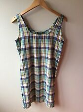 J.Crew Blue/Green/Yellow Plaid Sleeveless Sheath Dress (4) 100% Cotton