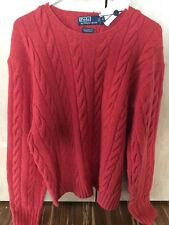 RALPH Lauren 100% CASHMERE Hand knit sweater leather Patches $700 XL nwt