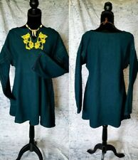 Wool Viking Tunic with Hand Sewn Seam Finishing and Linen Embroidery