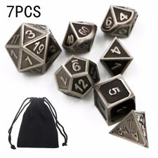 7pcs Embossed Heavy Metal Polyhedral Dice DnD RPG MTG SET Game Tools w/ Bag