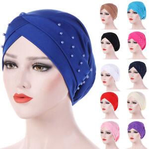Ladies Turban Hat Beads Muslim Cancer Chemo Hair Cap Women Hijab Head Scarf Hat