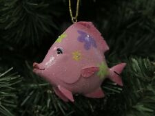 Pink 'Flower Power' Fish Christmas Ornament, 1970s Style