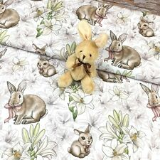 Bunnies And Flowers Cotton Fabric Rabbit With Bow Easter Cotton Fabric
