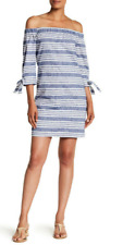 Vince Camuto Striped Off-the-Shoulder Linen Blend Dress 14 NWT $138