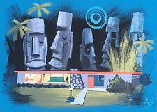 EL GATO GOMEZ RETRO MID CENTURY MODERN ATOMIC RANCH HOUSE  TIKI BAR MOAI PRINT