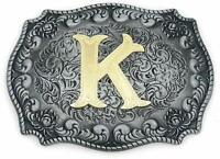 Western Belt Buckle Initial Letter Cowboy Rodeo Silver Large  (K)