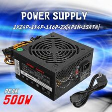 500W PC Power Supply PSU PFC SATA ATX 24-PIN Silent Fan Computer 500 Watt