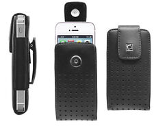 Leather Vertical Case Pouch for iPhone 5S 5 & 5C Black Holster w/Fixed Belt Clip