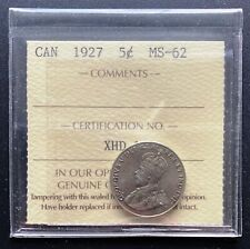 1927 Canada 5 Cent Nickel Coin *** ICCS Graded MS-62 ***