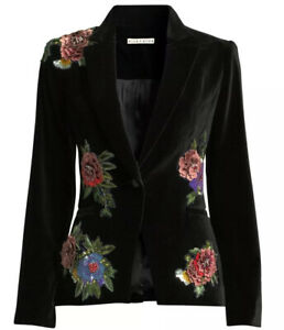 Alice + Olivia Hix Flower Applique Blazer Black Velvet Size 12 NWOT