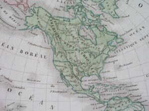 1842 RARE ORIGINAL MAP TEXAS REPUBLIC UNITED STATES CANADA ASIA AUSTRALIA WORLD