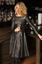 Leder-Kleid als Teller-KLEID in ECHT-LEDER schwarz -weiches LAMMNAPPA  für Damen