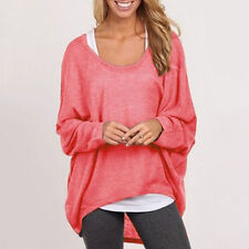 Womens Plus Size Long Sleeve Slouchy Sweater Casual Jumper Pullover Tops Blouse