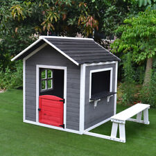 Kids Cubby House Wooden Outdoor Furniture Playhouse With Bench