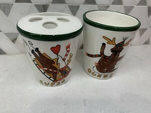Certified International Reindeer Toothbrush Holder & Cup Christmas Bathroom Set