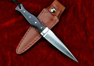 Needle Point Knife Fixed Blade Hunting Wild Survival Combat Tactical Wood Handle