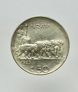 VITTORIO EMANUELE III 1900-1945 -NI/ 50 CENTESIMI 1925 rigato