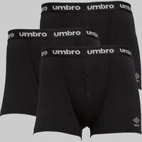 3 Pack Mens Umbro Stylish Button Fly Stretch Jersey Boxers Underwear Size S-XL