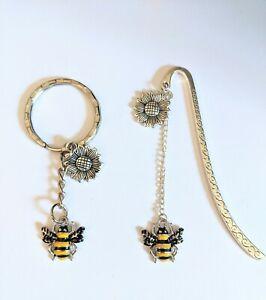 Bookmark & keyring gift set enamel bumble bee Christmas gift birthday gift