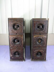 Antique Ornate Wood Treadle Sewing Machine Wood Cabinet Drawers-Set of 6 Drawers