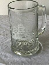 k Clipper etched heavy glass mug STEIN  Sailboat  Collectible Bar Ware   LOOK