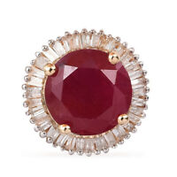 10K Yellow Gold AA Ruby White Diamond Pendant Jewelry Ct 2.9 H Color I3 Clarity