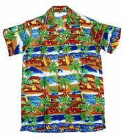 MENS HAWAIIAN SHIRT STAG BEACH HAWAII ALOHA  SUMMER HOLIDAY FANCY BLUE RAYON