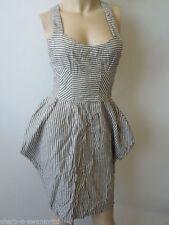 Linen Stripes Short Sleeve Dresses for Women