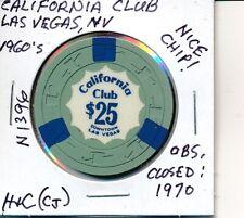 $25 CASINO CHIP*CALIFORNIA CLUB LAS VEGAS NV 1951 H&C(CJ) #N1396 OBS CLOSED 1970