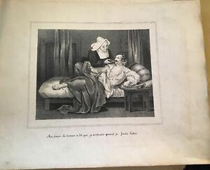 CURIOSA. LITHOGRAPHIE DE DEVERIA. MA SOEUR, LE DOCTEUR A DIT. XIXéme.