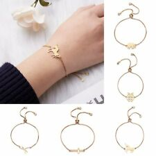 Gold Stainless Steel Owl Elephant Animals Bangle Adjustable Cross Chain Bracelet
