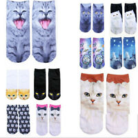 Fashion Women Casual Socks 3D Printed Animal Cute Cat Unisex Low Cut Ankle Socks